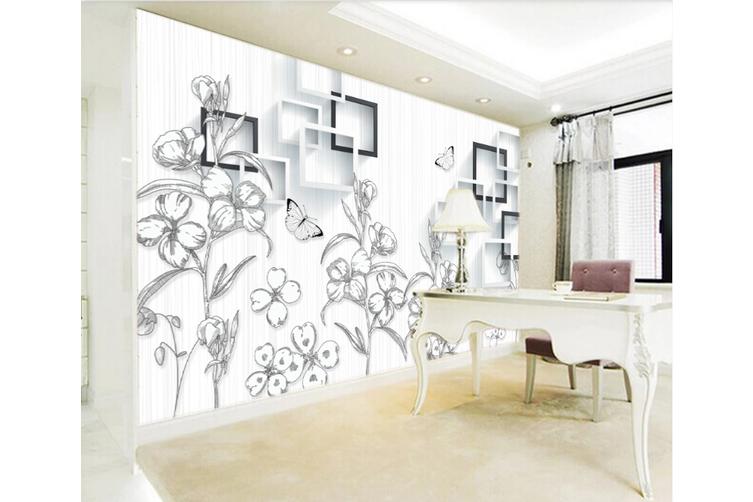3d Sketch Flower Wc971 Wall Murals Wallpaper Murals Woven Paper Need Glue Xl 208cm X 146cm Wxh 82 X58 Matt Blatt