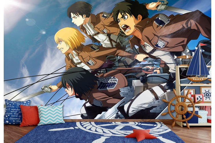 3D Attack On Titan 665 Anime Wall Murals Woven paper (need glue), XL 208cm x 146cm (WxH)(82''x58'')