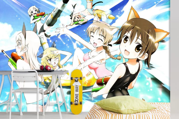 3D STRIKE WITCHES 656 Anime Wall Murals Self-adhesive Vinyl, XXL 312cm x 219cm (WxH)(123''x87'')