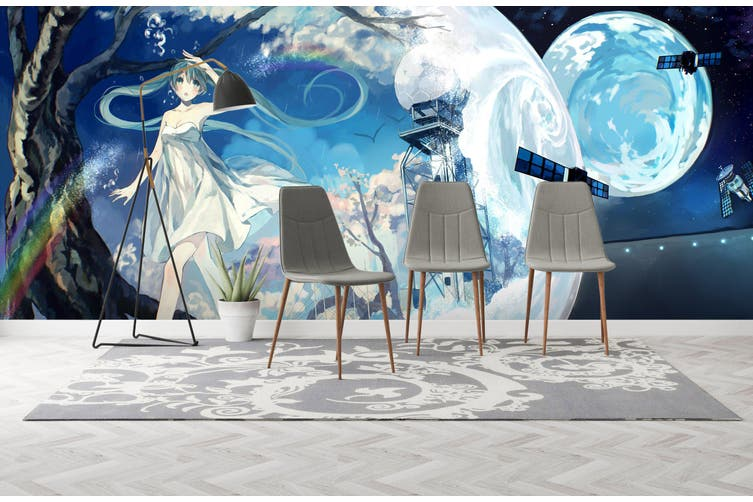 3D Hatsune Miku 630 Anime Wall Murals Woven paper (need glue), XXL 312cm x 219cm (WxH)(123''x87'')