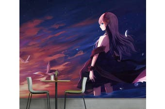 3D BARE BACK ANIME GIRL 599 Anime Wall Murals Woven paper (need glue), XXXL 416cm x 254cm (WxH)(164''x100'')