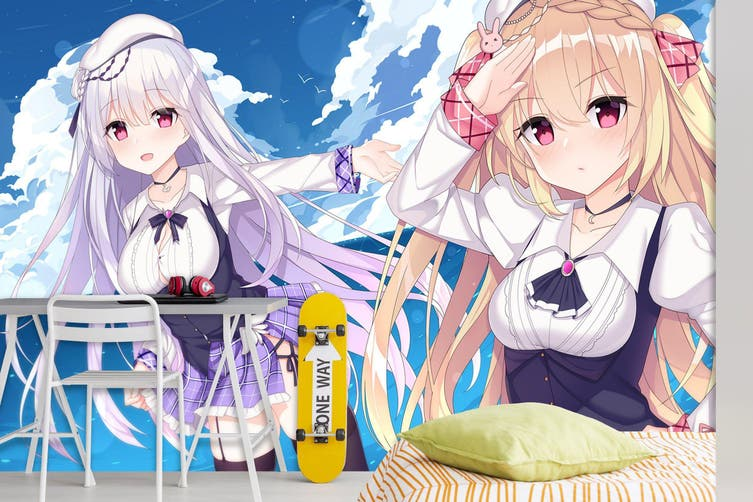 3D Azur Lane Wiki 596 Anime Wall Murals Woven paper (need glue), XXL 312cm x 219cm (WxH)(123''x87'')