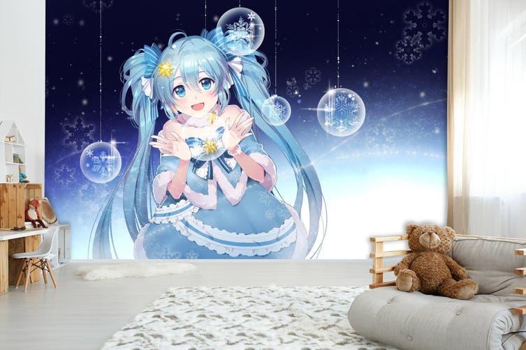 3D Hatsune Miku 576 Anime Wall Murals Woven paper (need glue), XL 208cm x 146cm (WxH)(82''x58'')