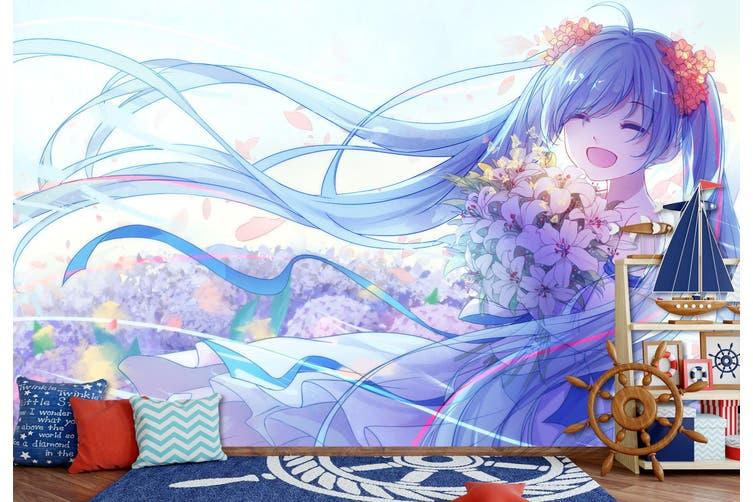 3D Hatsune Miku 571 Anime Wall Murals Woven paper (need glue), XXL 312cm x 219cm (WxH)(123''x87'')