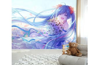 3D Hatsune Miku 571 Anime Wall Murals Woven paper (need glue), XXXXL 520cm x 290cm (WxH)(205''x114'')