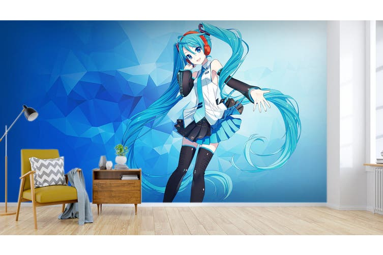 3D Hatsune Miku 566 Anime Wall Murals Woven paper (need glue), XXXXL 520cm x 290cm (WxH)(205''x114'')