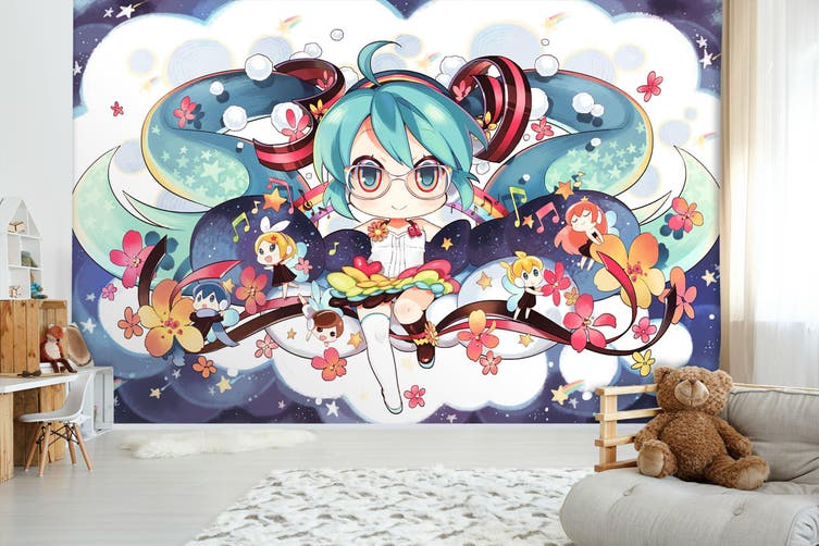 3D Hatsune Miku 563 Anime Wall Murals Woven paper (need glue), XL 208cm x 146cm (WxH)(82''x58'')