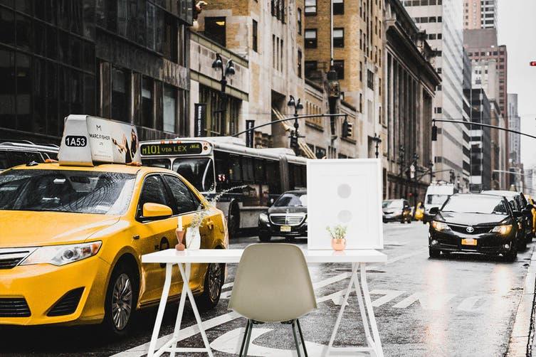3D Taxi Junction 398 Vehicle Wall Murals Wallpaper Murals Woven paper (need glue), XXXL 416cm x 254cm (WxH)(164''x100'')