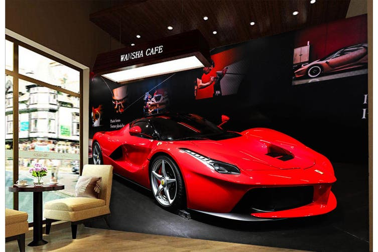 3D Luxury Ferrari 392 Vehicle Wall Murals Wallpaper Murals Self-adhesive Vinyl, XL 208cm x 146cm (WxH)(82''x58'')