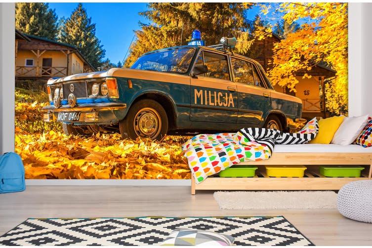 3D Maple Leaf Car 390 Vehicle Wall Murals Wallpaper Murals Self-adhesive Vinyl, XL 208cm x 146cm (WxH)(82''x58'')