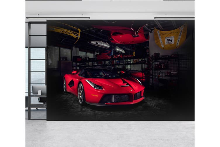 3D Ferrari Repair Room 387 Vehicle Wall Murals Wallpaper Murals Self-adhesive Vinyl, XL 208cm x 146cm (WxH)(82''x58'')