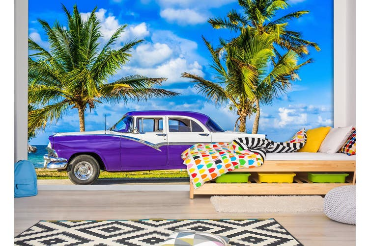 3D Beach Car Tree 385 Vehicle Wall Murals Wallpaper Murals Self-adhesive Vinyl, XXXXL 520cm x 290cm (WxH)(205''x114'')