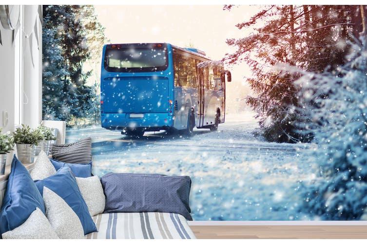 3D Snowflake Bus 384 Vehicle Wall Murals Wallpaper Murals Woven paper (need glue), XL 208cm x 146cm (WxH)(82''x58'')