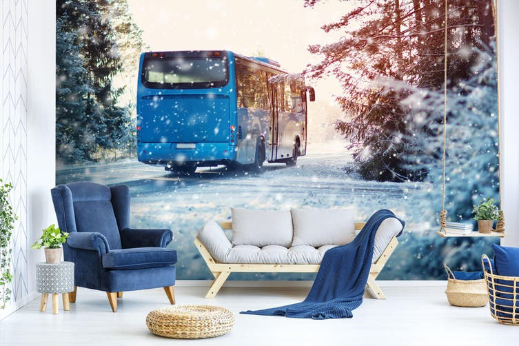 3D Snowflake Bus 384 Vehicle Wall Murals Wallpaper Murals Self-adhesive Vinyl, XXL 312cm x 219cm (WxH)(123''x87'')