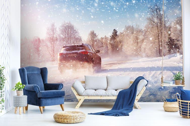 3D Snowflake Car 383 Vehicle Wall Murals Wallpaper Murals Woven paper (need glue), XXXL 416cm x 254cm (WxH)(164''x100'')