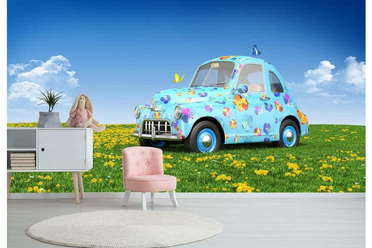 3D Cute Butterfly Car 379 Vehicle Wall Murals Wallpaper Murals Woven paper (need glue), XXL 312cm x 219cm (WxH)(123''x87'')