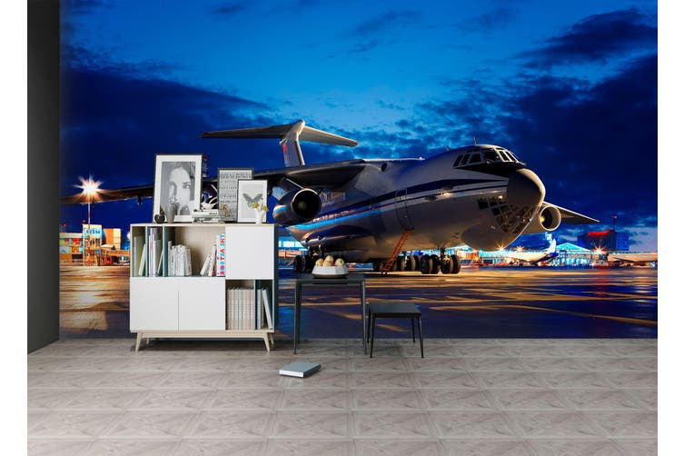 3D Night Airport Plane 376 Vehicle Wall Murals Wallpaper Murals Self-adhesive Vinyl, XXL 312cm x 219cm (WxH)(123''x87'')