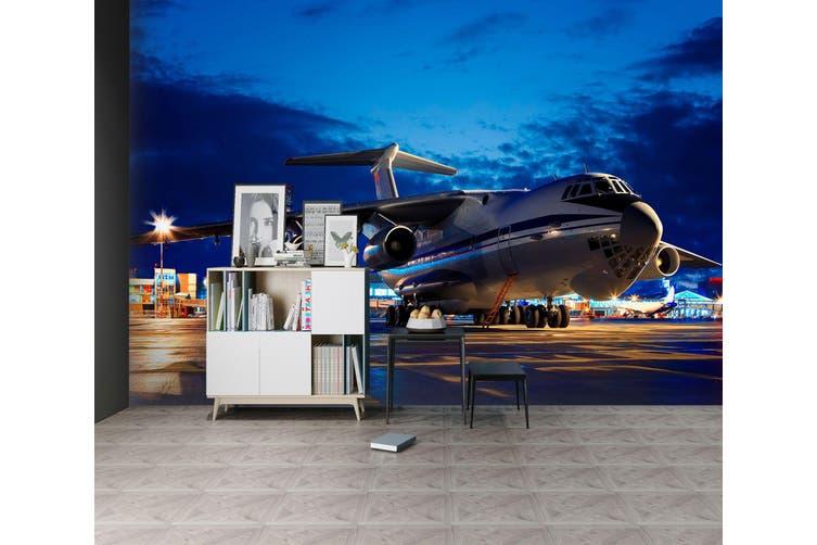 3D Night Airport Plane 376 Vehicle Wall Murals Wallpaper Murals Self-adhesive Vinyl, XXXL 416cm x 254cm (WxH)(164''x100'')