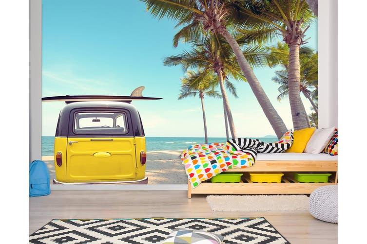 3D Beach Tree Car 372 Vehicle Wall Murals Wallpaper Murals Woven paper (need glue), XL 208cm x 146cm (WxH)(82''x58'')