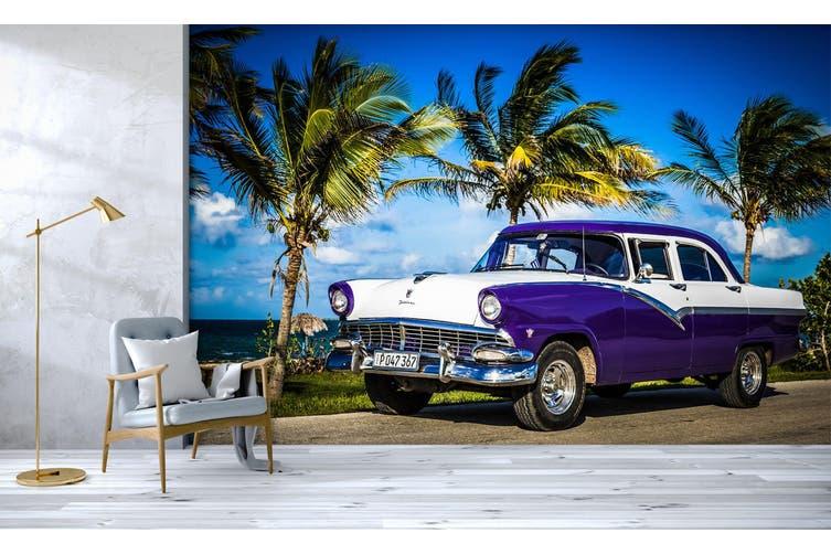 3D Green Tree Blue Car 366 Vehicle Wall Murals Wallpaper Murals Self-adhesive Vinyl, XL 208cm x 146cm (WxH)(82''x58'')