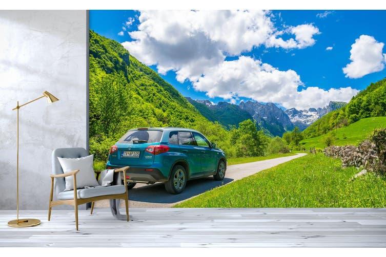 3D Green Landscape Car 360 Vehicle Wall Murals Wallpaper Murals Woven paper (need glue), XXXL 416cm x 254cm (WxH)(164''x100'')