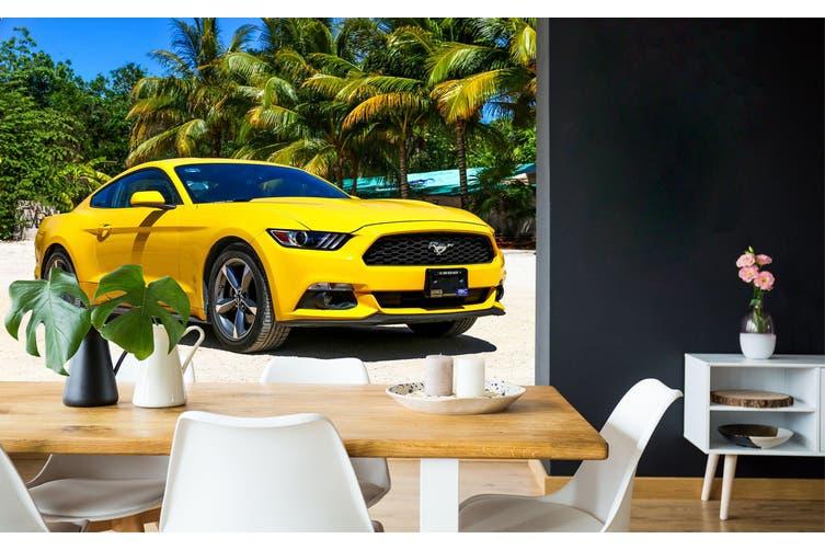 3D Beach Tree Car 356 Vehicle Wall Murals Wallpaper Murals Self-adhesive Vinyl, XXXXL 520cm x 290cm (WxH)(205''x114'')