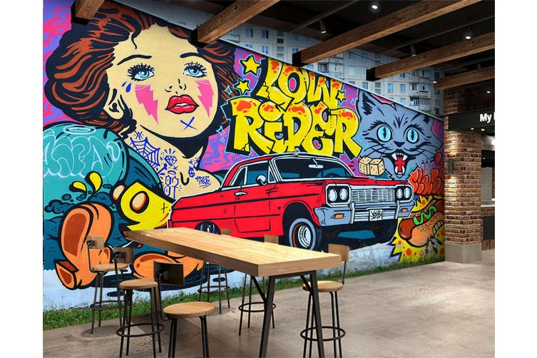 3D Cartoon Cat Car 355 Vehicle Wall Murals Wallpaper Murals Self-adhesive Vinyl, XXXXL 520cm x 290cm (WxH)(205''x114'')