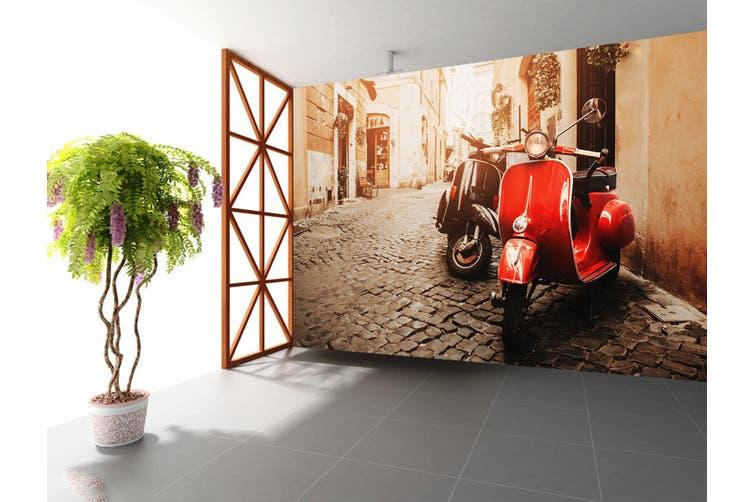 3D Red Electric Car 354 Vehicle Wall Murals Wallpaper Murals Self-adhesive Vinyl, XL 208cm x 146cm (WxH)(82''x58'')