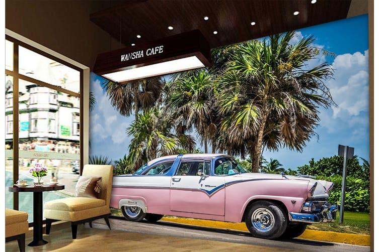 3D Pink Convertible 347 Vehicle Wall Murals Wallpaper Murals Woven paper (need glue), XXXXL 520cm x 290cm (WxH)(205''x114'')