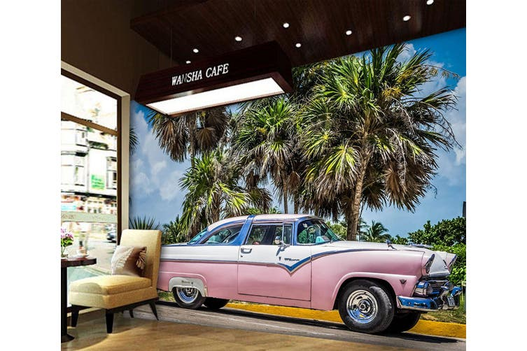 3D Pink Convertible 347 Vehicle Wall Murals Wallpaper Murals Self-adhesive Vinyl, XXXL 416cm x 254cm (WxH)(164''x100'')