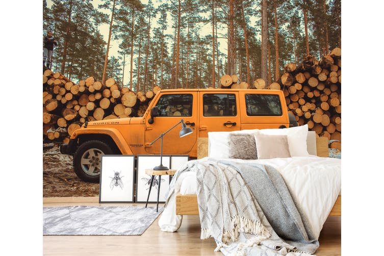 3D Wood Cross Country 346 Vehicle Wall Murals Wallpaper Murals Woven paper (need glue), XXL 312cm x 219cm (WxH)(123''x87'')