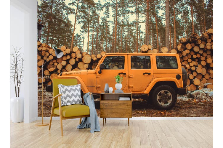 3D Wood Cross Country 346 Vehicle Wall Murals Wallpaper Murals Self-adhesive Vinyl, XXXXL 520cm x 290cm (WxH)(205''x114'')