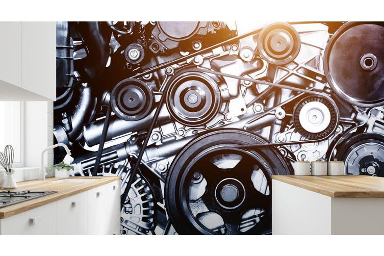 3D Black Engine 345 Vehicle Wall Murals Wallpaper Murals Woven paper (need glue), XXXL 416cm x 254cm (WxH)(164''x100'')