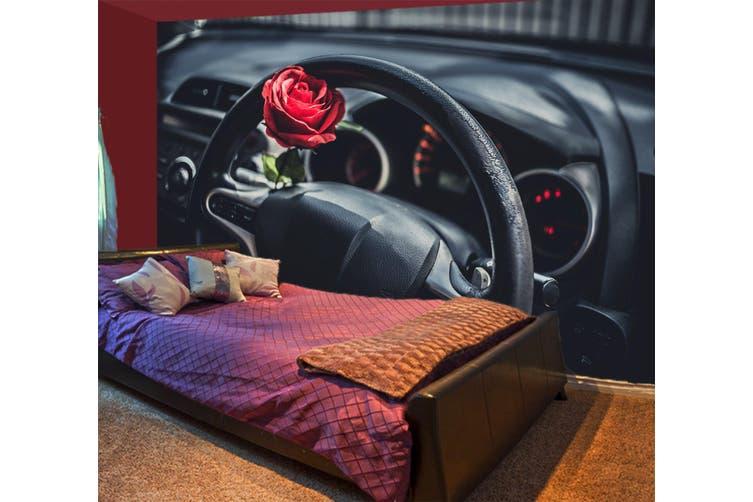 3D Rose Steering Wheel 344 Vehicle Wall Murals Wallpaper Murals Self-adhesive Vinyl, XXXL 416cm x 254cm (WxH)(164''x100'')