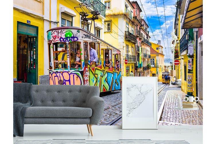 3D Cartoon Bus 332 Vehicle Wall Murals Wallpaper Murals Woven paper (need glue), XXL 312cm x 219cm (WxH)(123''x87'')