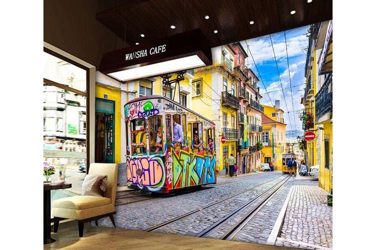 3D Cartoon Bus 332 Vehicle Wall Murals Wallpaper Murals Self-adhesive Vinyl, XXL 312cm x 219cm (WxH)(123''x87'')