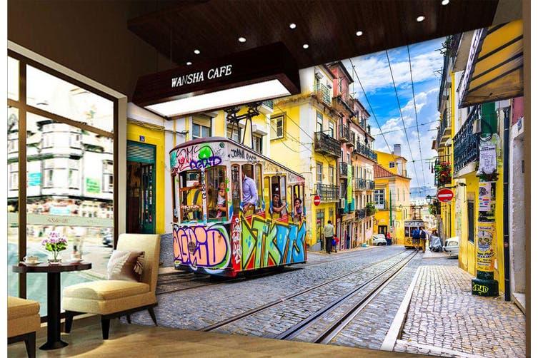 3D Cartoon Bus 332 Vehicle Wall Murals Wallpaper Murals Self-adhesive Vinyl, XXXL 416cm x 254cm (WxH)(164''x100'')