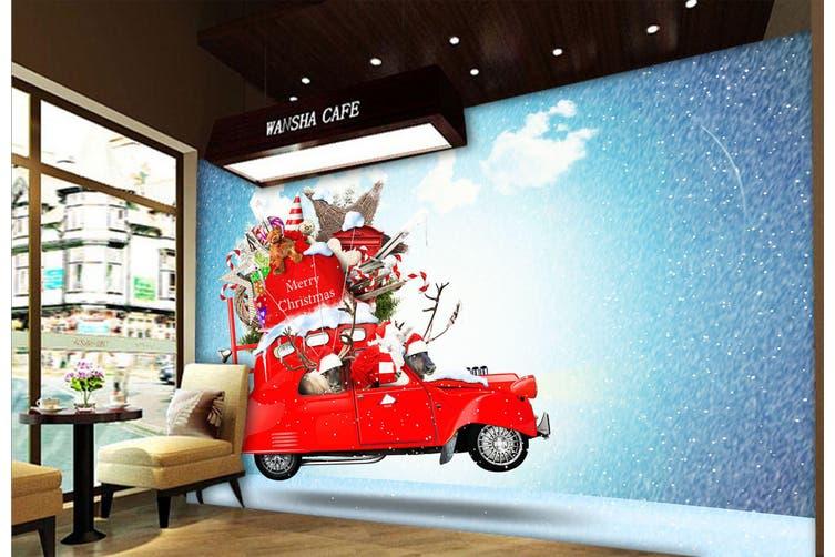 3D Christmas Gift Deer 329 Vehicle Wall Murals Wallpaper Murals Woven paper (need glue), XL 208cm x 146cm (WxH)(82''x58'')
