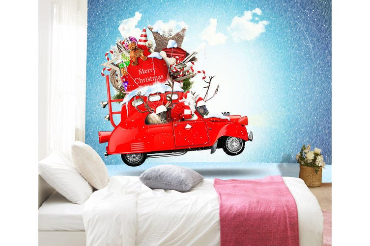 3D Christmas Gift Deer 329 Vehicle Wall Murals Wallpaper Murals Self-adhesive Vinyl, XXXL 416cm x 254cm (WxH)(164''x100'')