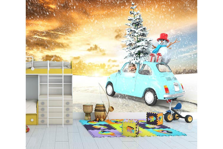 3D Snowman Car Tree 327 Vehicle Wall Murals Wallpaper Murals Woven paper (need glue), XL 208cm x 146cm (WxH)(82''x58'')