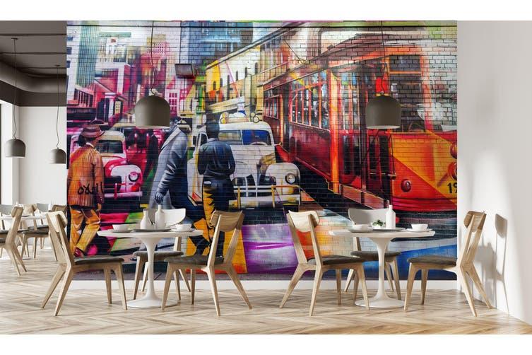 3D Wall Painting Bus 322 Vehicle Wall Murals Wallpaper Murals Woven paper (need glue), XL 208cm x 146cm (WxH)(82''x58'')