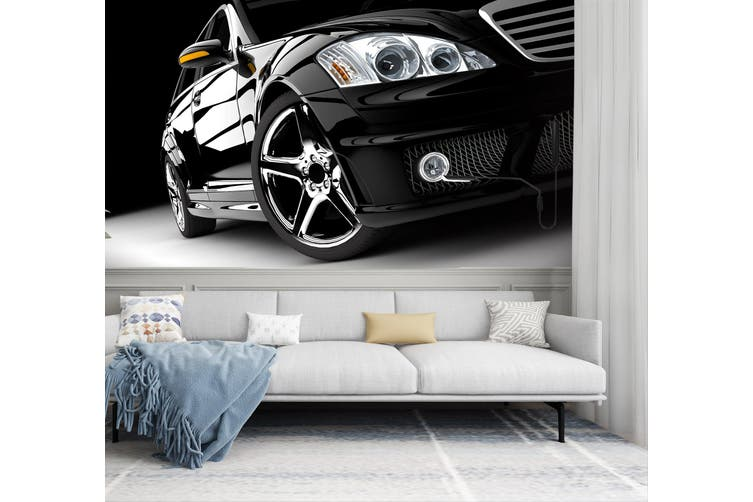 3D Black Car Headlight 320 Vehicle Wall Murals Wallpaper Murals Woven paper (need glue), XXL 312cm x 219cm (WxH)(123''x87'')