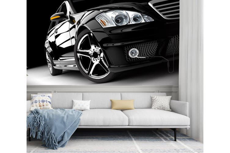 3D Black Car Headlight 320 Vehicle Wall Murals Wallpaper Murals Self-adhesive Vinyl, XL 208cm x 146cm (WxH)(82''x58'')