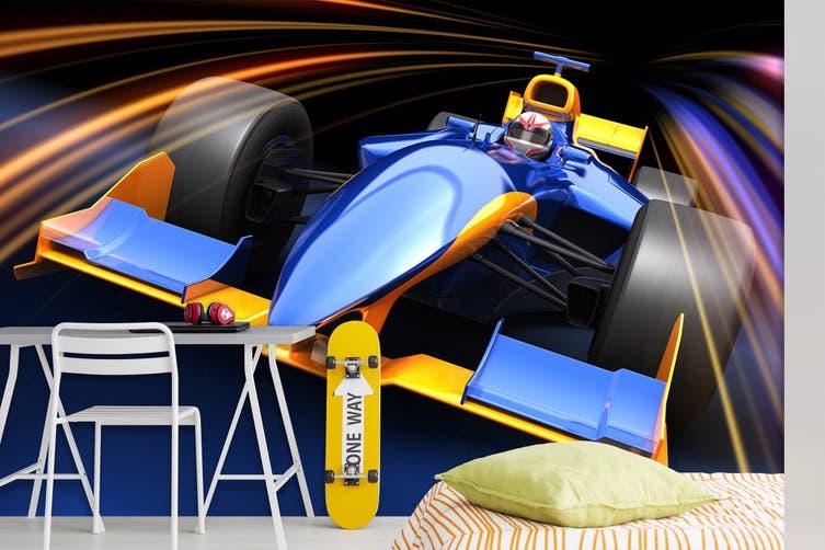 3D Blue Racing Car 316 Vehicle Wall Murals Wallpaper Murals Self-adhesive Vinyl, XXXL 416cm x 254cm (WxH)(164''x100'')