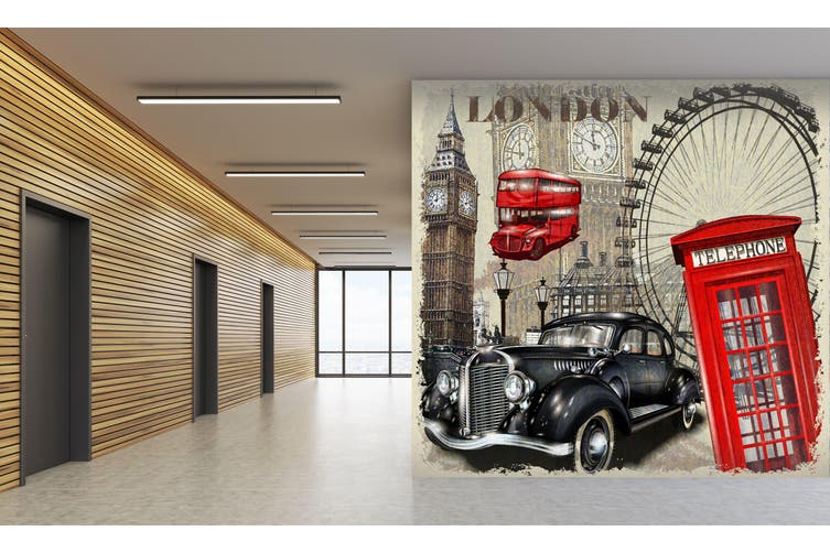 3D Ferris Wheel Car 314 Vehicle Wall Murals Wallpaper Murals Self-adhesive Vinyl, XXL 312cm x 219cm (WxH)(123''x87'')