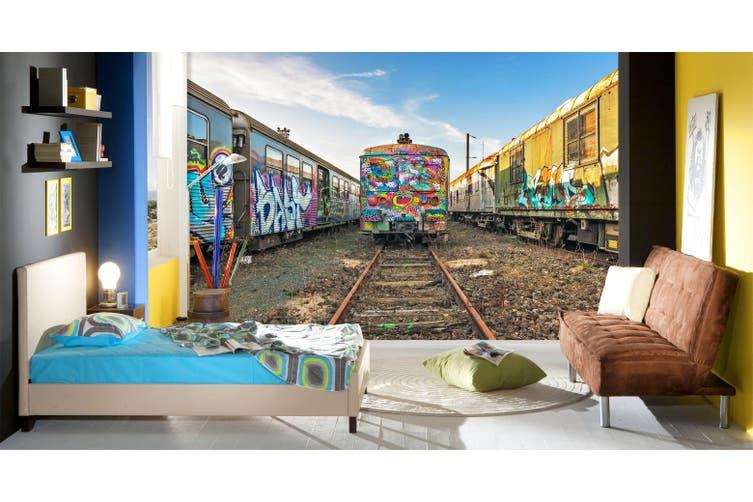 3D Painted Train 311 Vehicle Wall Murals Wallpaper Murals Woven paper (need glue), XXL 312cm x 219cm (WxH)(123''x87'')