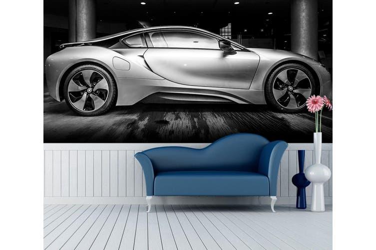 3D Silver Sports Car 310 Vehicle Wall Murals Wallpaper Murals Self-adhesive Vinyl, XL 208cm x 146cm (WxH)(82''x58'')