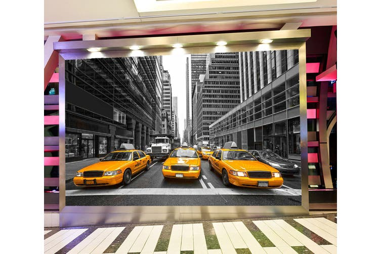 3D Yellow Taxi 307 Vehicle Wall Murals Wallpaper Murals Woven paper (need glue), XL 208cm x 146cm (WxH)(82''x58'')