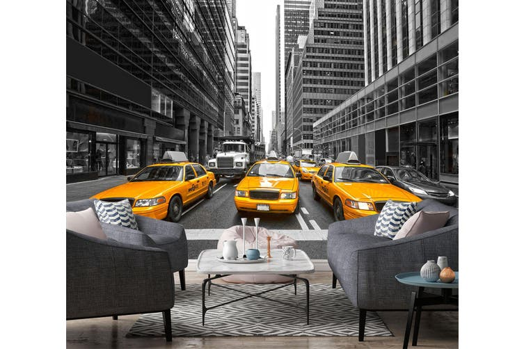 3D Yellow Taxi 307 Vehicle Wall Murals Wallpaper Murals Woven paper (need glue), XXXXL 520cm x 290cm (WxH)(205''x114'')