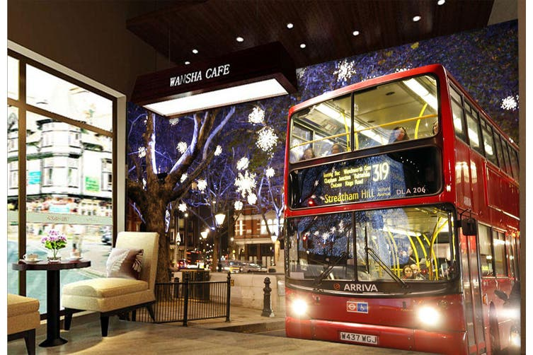 3D Night Red Bus 301 Vehicle Wall Murals Wallpaper Murals Woven paper (need glue), XXL 312cm x 219cm (WxH)(123''x87'')